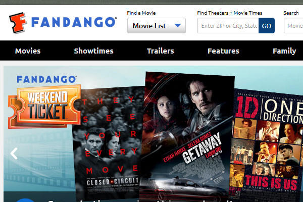 A screenshot of Fandango's homepage. Hollywood Movie Money's currency is accepted in more than 36,000 screens nationwide, a key factor in Fandango's acquisition deal for Quantum.