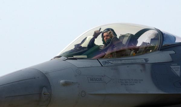 A U.S. Air Force website shows a F-16 prepares for takeoff from an air base in Turkey in 2003. U.S. warplanes may soon be returning to warfare in the Mideast, this time in Syria.