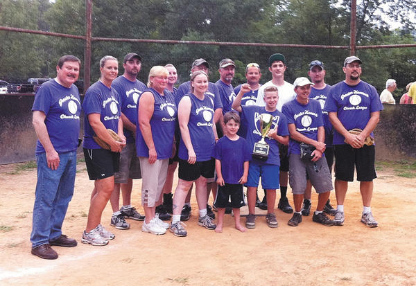 The St. Thomas' softball team won the championship in the Greater Hancock Church Softball League. The team includes, from left, the Rev. Allan Weatherholt, Amy Sterner, Corey True, Sylvia Moats, Heidi Gaither, Rachele True, Coach Lynn Mosier, Coach Kent Hendershot, Paul Hendershot, Danny Shirley, Noah Hoopengardner, Jesse Wolford, Tim Smith, Aaron Van Meter and Toby McCarty. Not pictured: Chris Dibble, Mac Elser and Theron Reed.