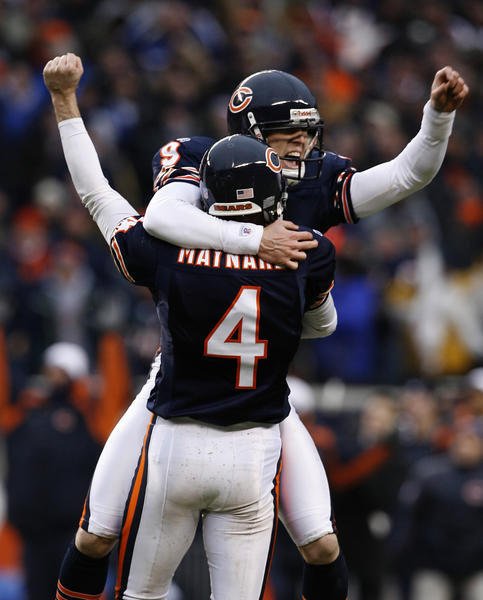 Robbie Gould booted the game-winning field goal against Seattle in the playoffs in 2007.