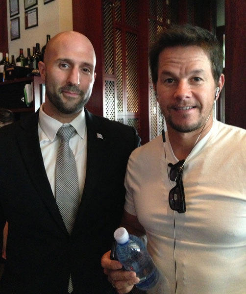 Actor Mark Wahlberg (right) at Chicago Cut Steakhouse Aug. 25 with restaurant manager Nick Gotsis (left).