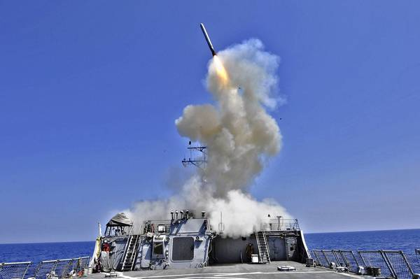 The Navy guided-missile destroyer USS Barry launches a Tomahawk cruise missile from the Mediterranean Sea in 2011.