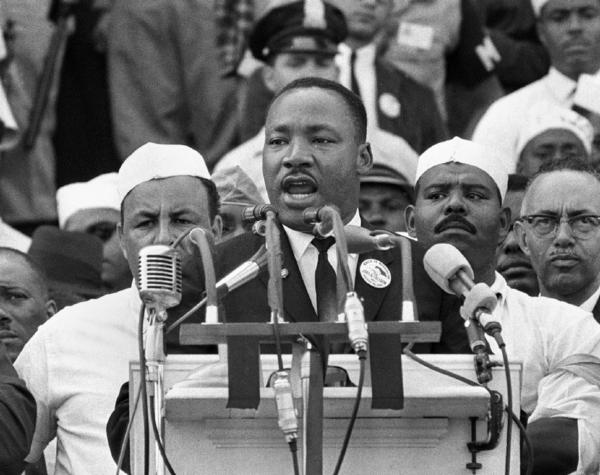 "The Rev. Martin Luther King Jr. gives his ""I Have a Dream"" speech at the Lincoln Memorial in Washington, D.C., in 1963."