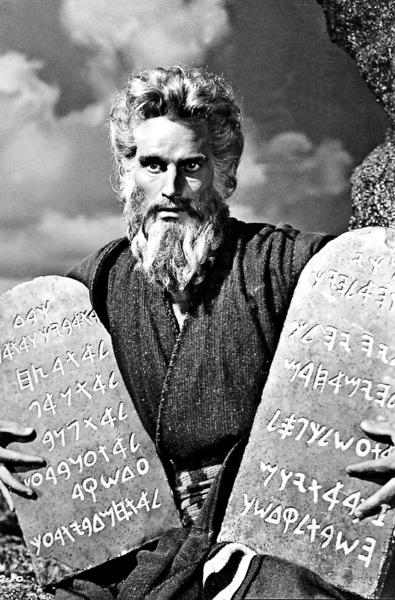 """(Above: Charlton Heston dressed as Moses during a sequence of the film """"The Ten Commandments"""".)"""