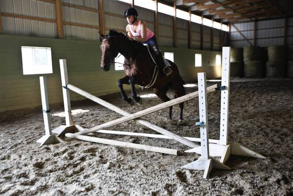 Terri Delucca of Canton guides one of the horses over a jump during a group riding lesson at Touch of Class Riding School.