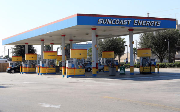 Suncoast Energys, one of two high-priced gas stations near the Orlando International Airport, in January.