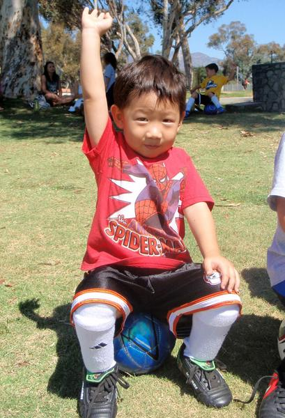 Josh, 3, at a Play 2 Grow soccer development session near the Rose Bowl.