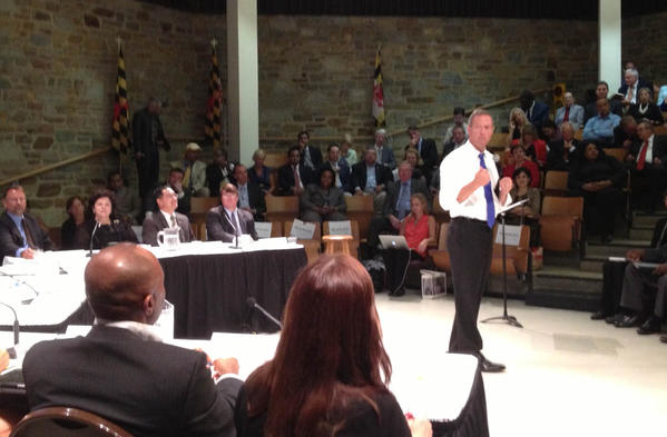 """Gov. Martin O'Malley speaks at a policy forum at Goucher College Wednesday about the theme of """"Better Choices, Better Results."""""""