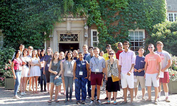 La Cañada High School junior Lucas Drill, far right, completed a program at the University of Cambridge University over the summer.