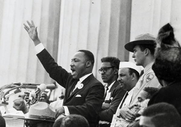 "The Rev. Martin Luther King Jr. delivers his ""I Have a Dream"" speech from the steps of the Lincoln Memorial in 1963."