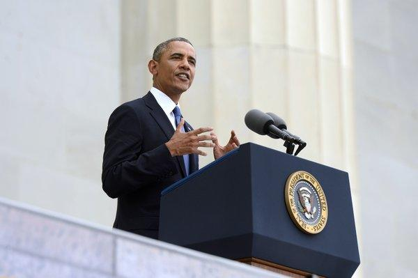 "President Barack Obama delivers remarks during the ""Let Freedom Ring"" commemoration event in Washington, D.C."