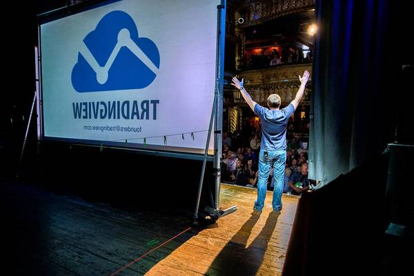 Stan Bokov, chief operating officer and co-founder of Chicago startup TradingView, makes a presentation Wednesday during Techstars Chicago's Demo Day at the House of Blues in Chicago.