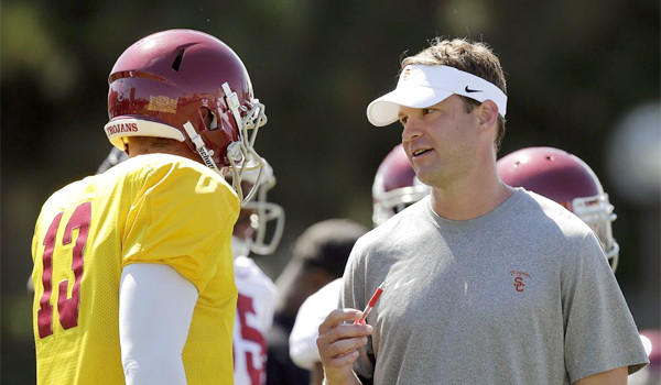 USC quarterback Max Wittek talks with Trojans Coach Lane Kiffin during a practice session in August.
