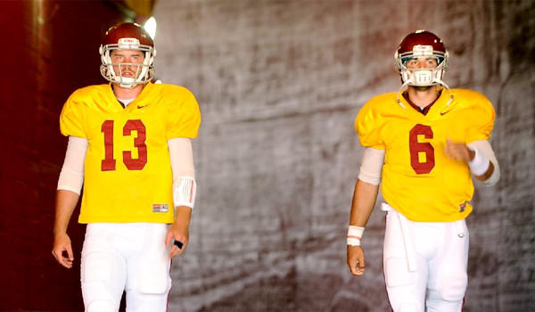 USC Coach Lane Kiffin still hasn't let whether it will be Max Wittek, left, or Cody Kessler, right, playing quarterback for the Trojans when they face Hawaii on Thursday.