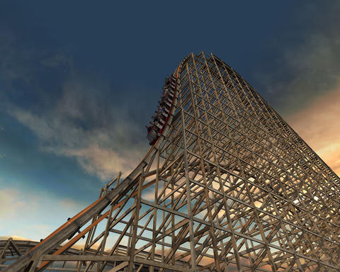 Goliath, the new wooden roller coaster slated to open next year at Six Flags Great America, will take riders up a 165-foot hill before plunging them down a 180-foot, 85-degree drop.