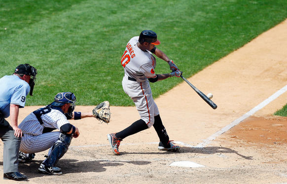 Adam Jones hits a two-run homer off Mariano Rivera in the ninth inning to give the Orioles a 2-1 lead over the Yankees.