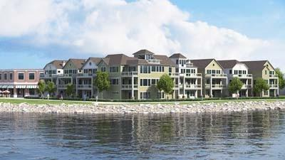 This rendering shows how planned cottage-style condominiums would appear at Boyne City's One Water Street development.