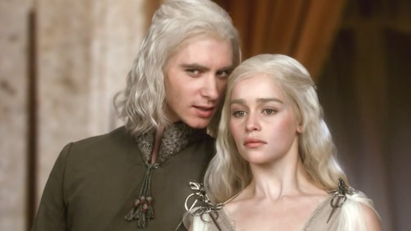 "Harry Lloyd as Viserys Targaryen with Emilia Clarke as Daenerys Targaryen on ""Game of Thrones."""