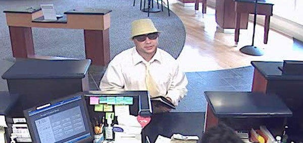 A surveillance image of the man suspected of robbing a People's United Bank in Greenwich Wednesday.