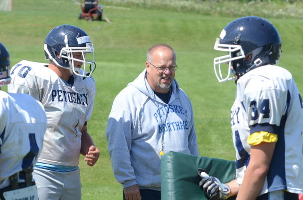 Veteran Petoskey High School football coach Kerry VanOrman (middle) and the Northmen will open the 2013 season on Friday, Aug. 30, at Curtis Field against Sault Ste. Marie in a non-league contest.