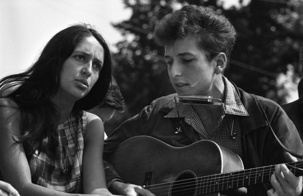 Joan Baez and Bob Dylan at the first March on Washington