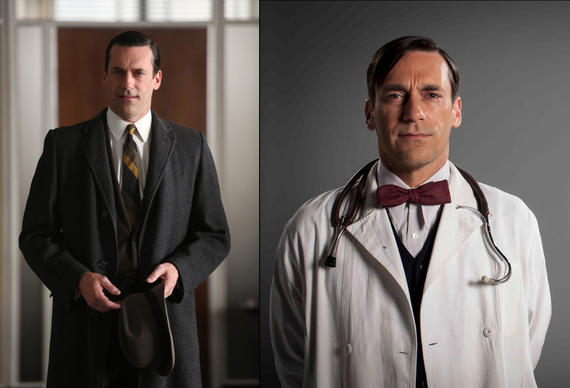 "Jon Hamm, who famously plays Don Draper on AMC's ""Mad Men"" (left), stars as the older version of Daniel Radcliffe's Russian doctor in ""A Young Doctor's Notebook,"" airing in October on Ovation."