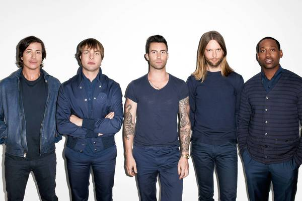 Maroon 5 Band members, left to right: Matt Flynn, Mickey Madden, Adam Levine, James Valentine, PJ Morton.