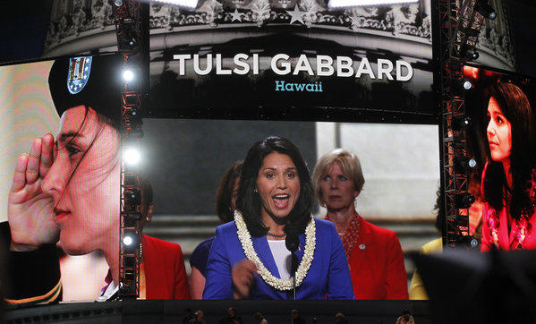 Tulsi Gabbard addresses delegates during the opening night ceremonies of the Democratic National Convention 2012.