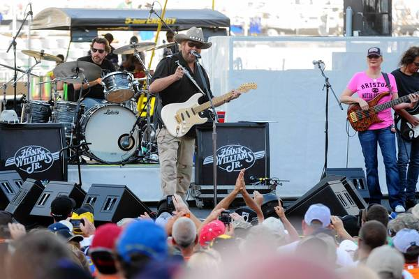 Hank Williams Jr. performs earlier this month before the NASCAR Irwin Tool Night Race at Bristol Motor Speedway.