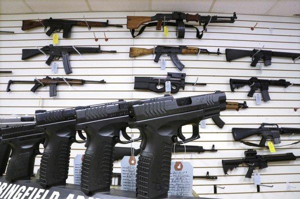 Assault weapons and handguns for sale at Capitol City Arms Supply in Springfield, Ill.