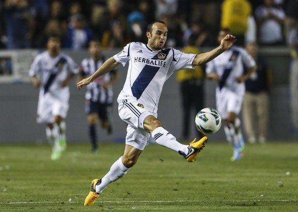 Landon Donovan. shown in action with the L.A. Galaxy, will play for the U.S. in World Cup qualifiers next month.