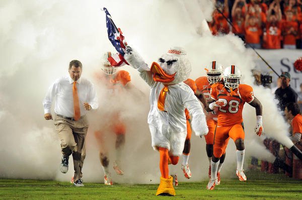 Miami Hurricanes mascot Sebastian takes the field before a game against Virginia Tech Hokies at Sun Life Stadium.
