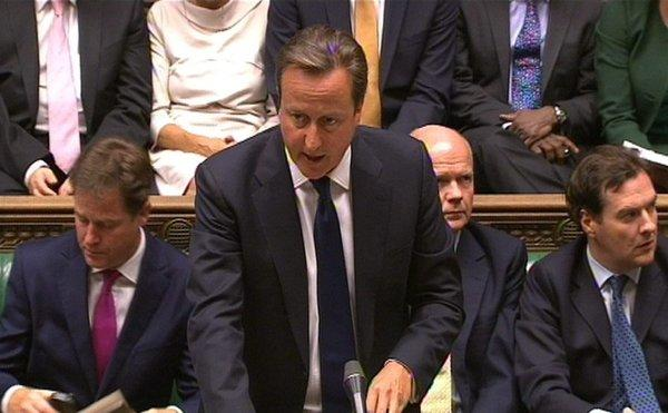 British Prime Minister David Cameron takes part in a debate in the House of Commons on the Syria crisis.