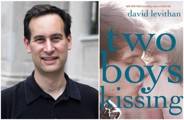 "Author David Levithan and the cover of his book, ""Two Boys Kissing."""