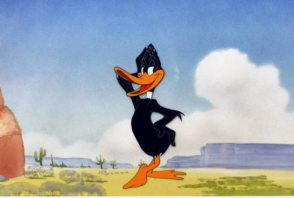 "Cel of Daffy Duck from the ""Art of Warner Bros."" exhibit"