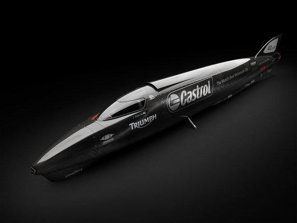The 1,000-horsepower Castrol Rocket, driven by twin Triumph Rocket III engines, is a contender for a new land speed record at the Bonneville Salt Flats.