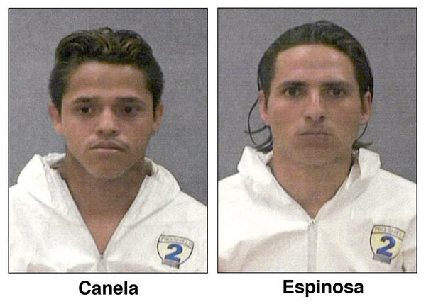 These 2004 photos provided by the Baltimore Police department show Adan Canela, then 18, left, and Policarpio Espinoza, 23.
