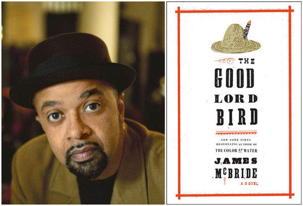 "Author James McBride and the cover of his book, ""The Good Lord Bird."""