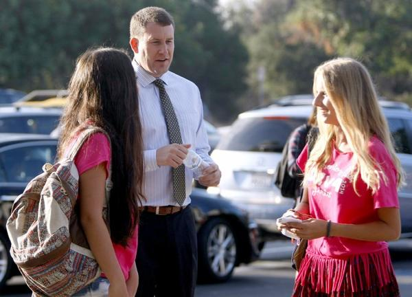 La Canada High School Principal Ian McFeat welcomes students to the first day of school this year. The LCUSD maintained its high ranking in API results released this week.