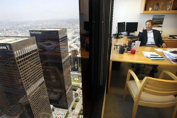 Greg Koltun, managing partner of law firm Morrison & Foerster, in his office atop Aon Center in downtown Los Angeles. The building is now managed by Jones Lang LaSalle.