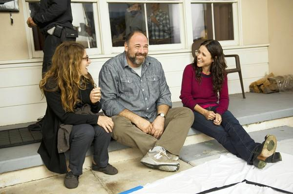 "Writer-director Nicole Holofcener, left, James Gandolfini and Julia Louis-Dreyfus on the set of the movie ""Enough Said."""