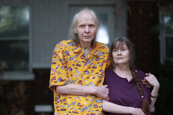 Portrait of Tom and Carolyn Gwiazdowski outside of their home in Rockford on Thursday, May 9, 2013. The blind couple were a victim of a data breach which occurred at Schnuck Markets Inc. Their debit card may have been compromised.