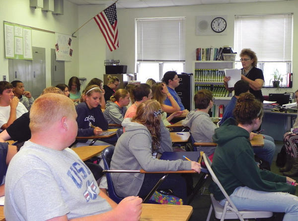 Students are packed like sardines in Terri Orkwiszewski's biology class at Greencastle-Antrim High School.