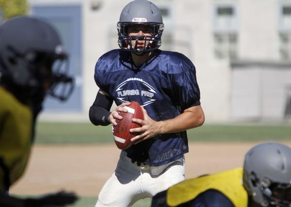 Flintridge Prep quarterback Andrew Tsangeos is looking to the lead the Rebels to a season-opening win versus Army-Navy at Occidental College on Friday at 7 p.m. (Raul Roa/Staff Photographer)