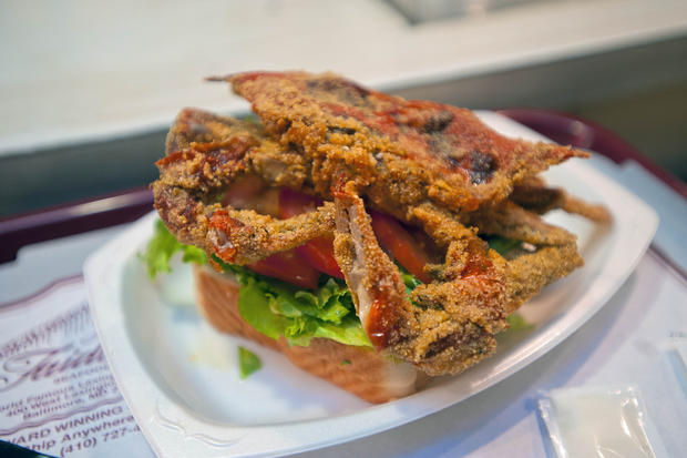 Soft shell crab sandwich at faidley s seafood in historic lexington