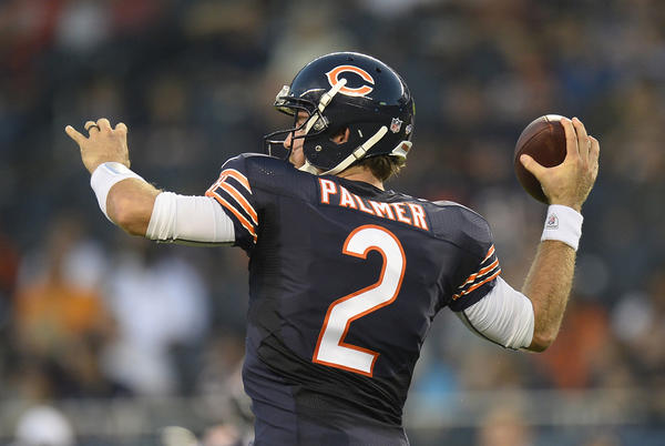 Chicago Bears quarterback Jordan Palmer passes during Thursday's final preseason game against the Cleveland Browns.