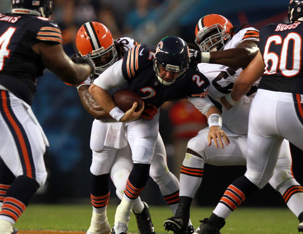 Chicago Bears' quarterback Jordan Palmer is sacked in 1st quarter by Cleveland Browns during Thursday's game at Soldier Field.