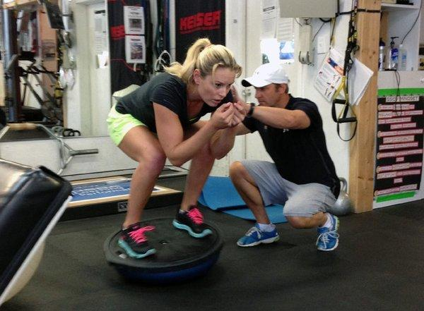 Lindsey Vonn works out with coach Martin Hager on Wednesday.