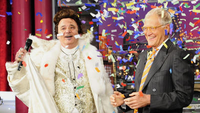 Bill Murray, dressed as Liberace, celebrates 20 years of 'Late Show'