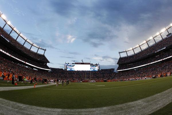 A general view of the field in the first quarter between the Denver Broncos and the Arizona Cardinals at Sports Authority Field at Mile High.